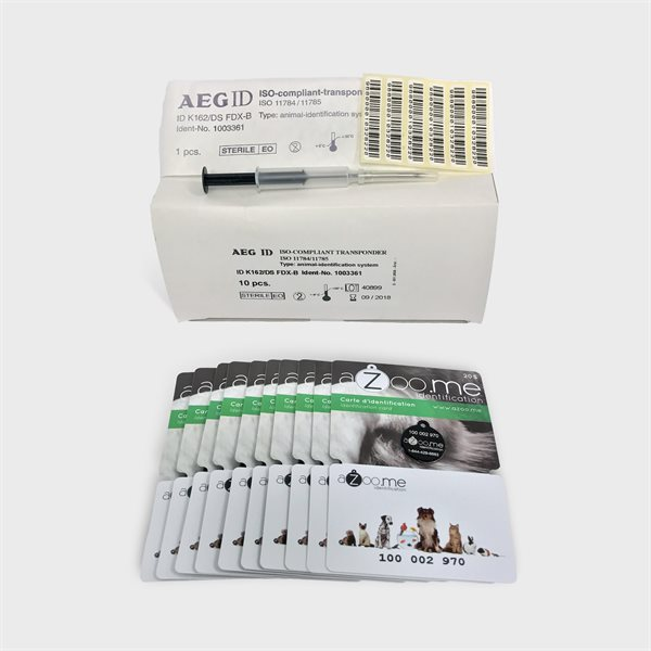 Kit: 10 Micropuces ISO, 10 cartes aZoo.me & 1 implanteur